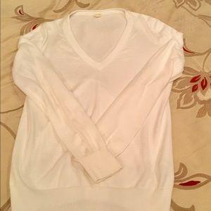 J. Crew 100% Cotton White V-Neck Summer Sweater